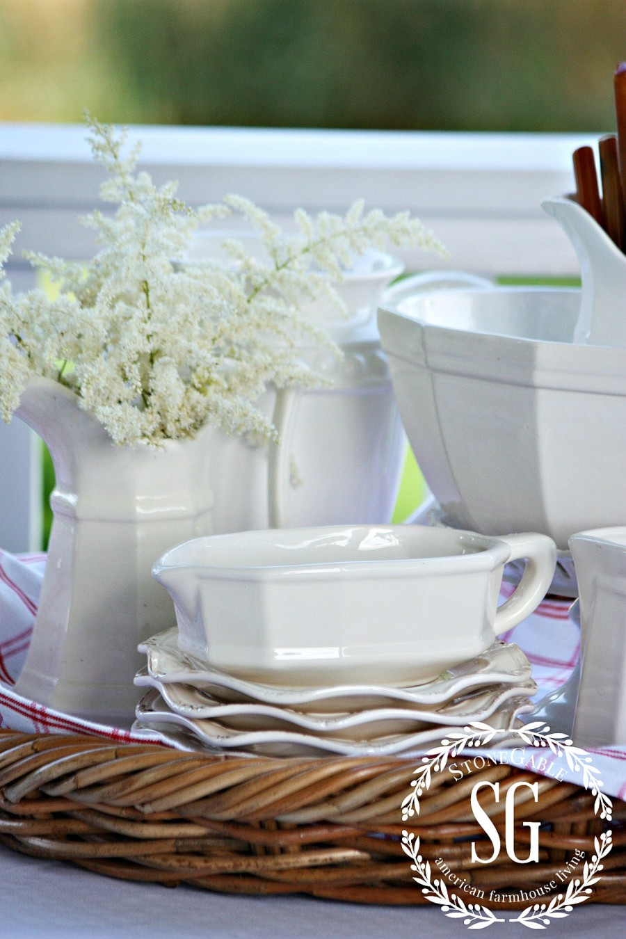 WHAT IS FARMHOUSE STYLE- white ironstone-stonegableblog.com