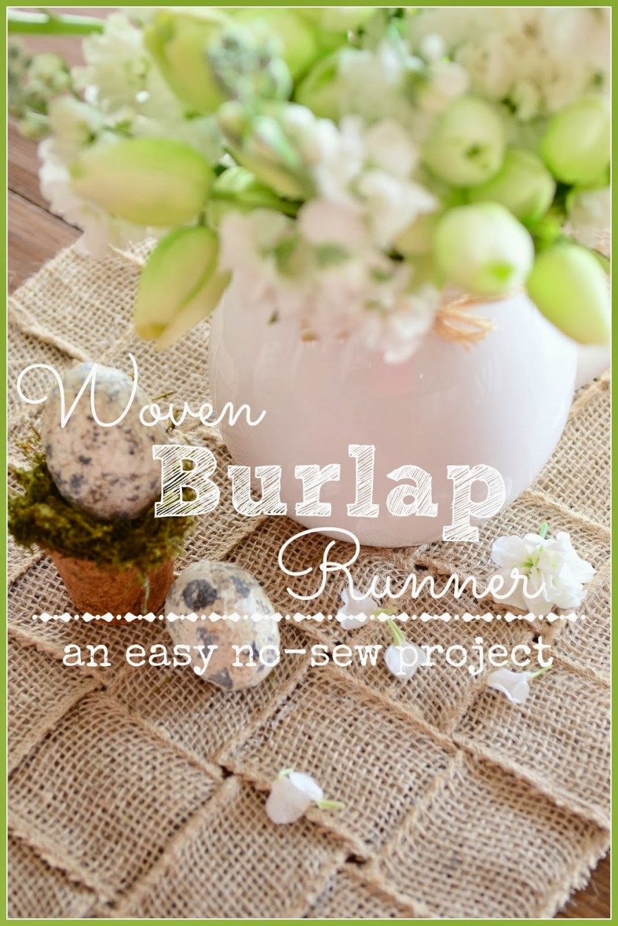 NO SEW WOVEN BURLAP RUNNER- so easy to make and customize for your table-stonegableblog.com