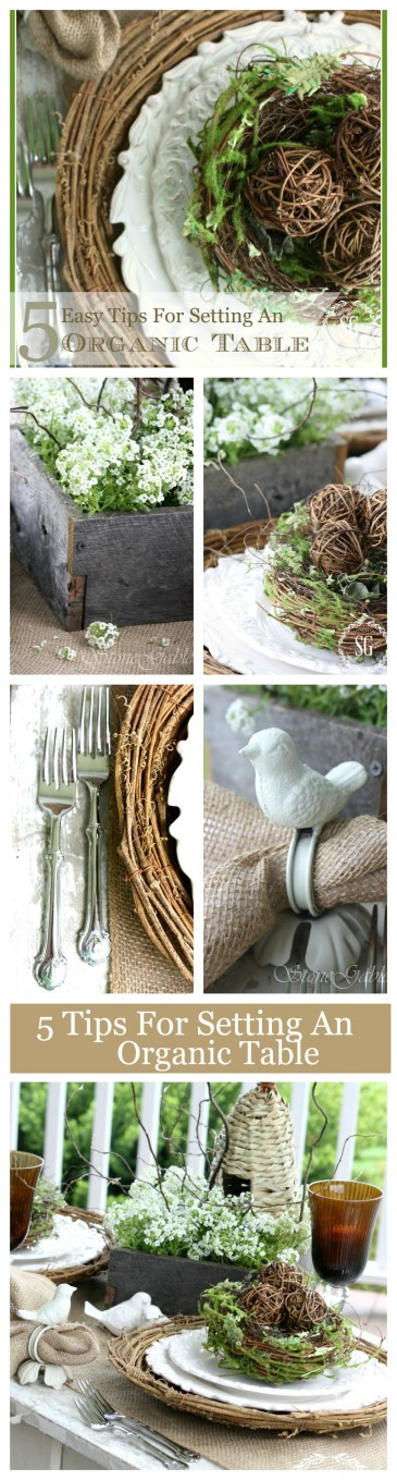 5 EASY TIPS FOR SETTING AN ORGANIC SPRING TABLE-lots of ideas-stonegableblog.com