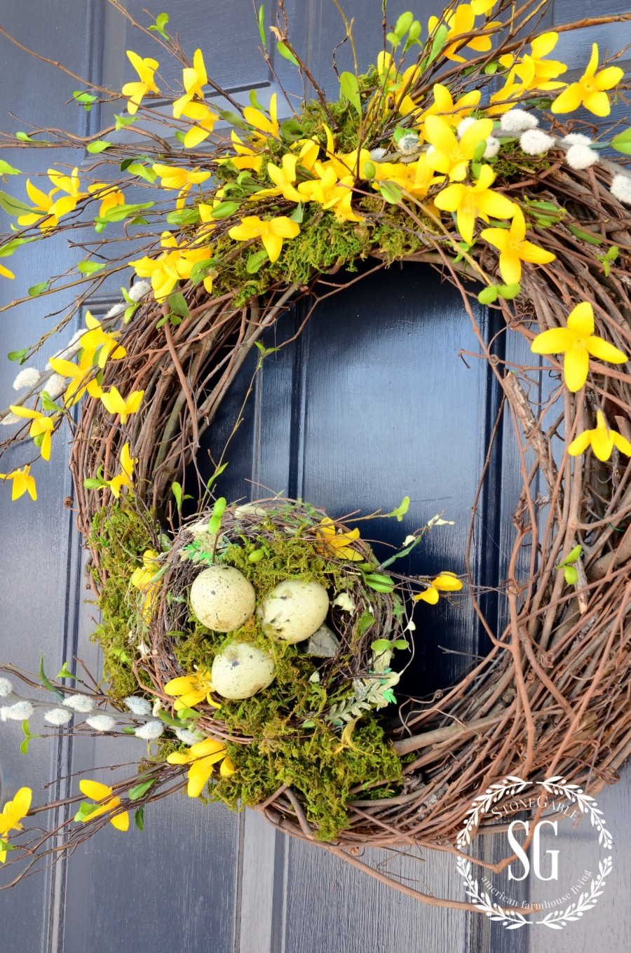 5 QUESTIONS YOU ASKED STONEGABLE-door color-forsythia wreath-stonegableblog.com