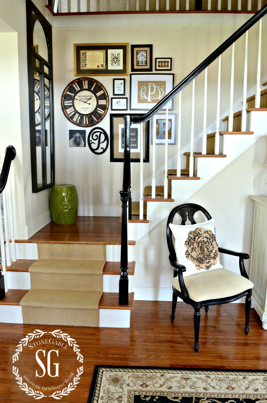 ADDING A CLOCK TO WALL ART GALLERY-clock in foyer-neutrals and black-stonegableblog.com