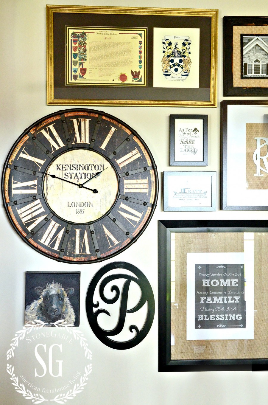 ADDING A CLOCK TO WALL ART GALLERY-clock on stairs-neutrals and black-stonegableblog.com