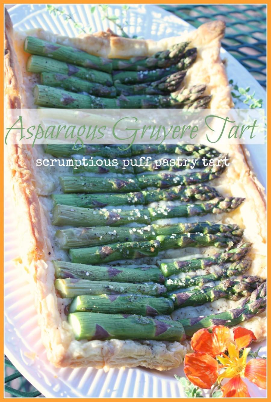 ASPARAGUS GRUYERE TART- Scrumptious puff pastry tart-stonegableblog.com
