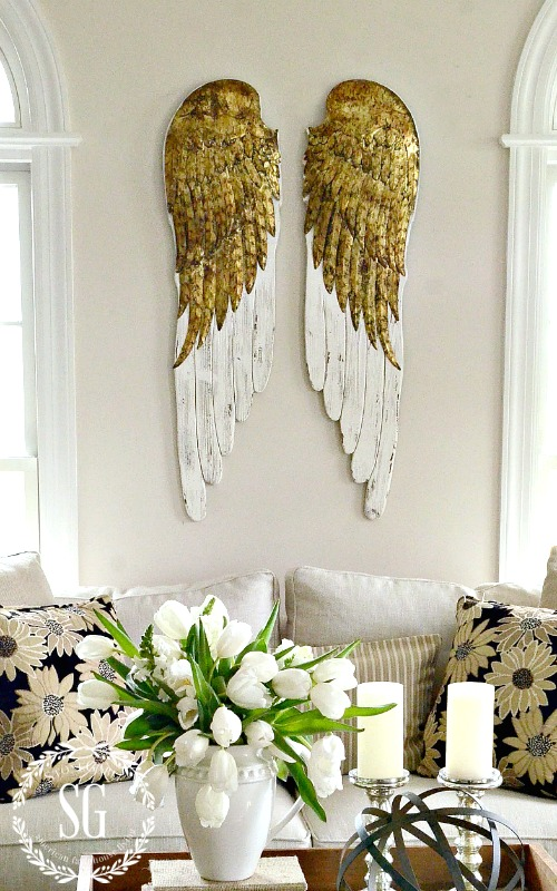 DECOR STEALS ANGEL WINGS-above the sofa-living room-stonegableblog,com