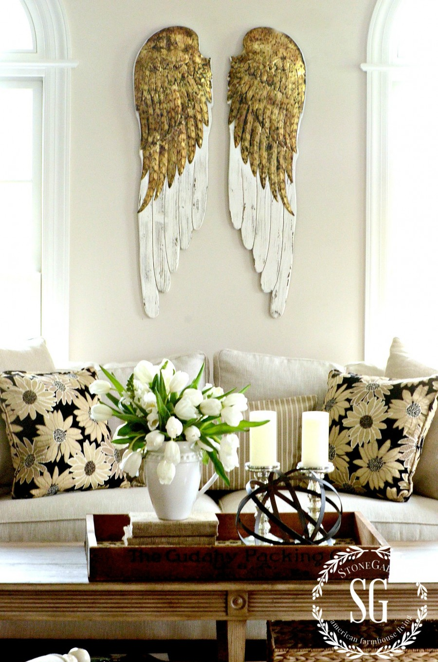 DECOR STEALS ANGEL WINGS- in the living room-stonegableblog,com