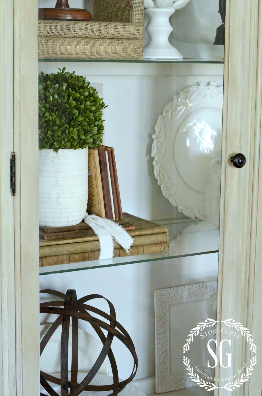 DISPLAYING FAMILY TREASURES- great grandfather's poetry books-in hutch-stonegableblog.com