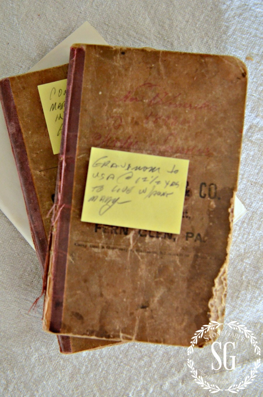 DISPLAYING FAMILY TREASURES- great grandfather's poetry books-little books-stonegableblog.com