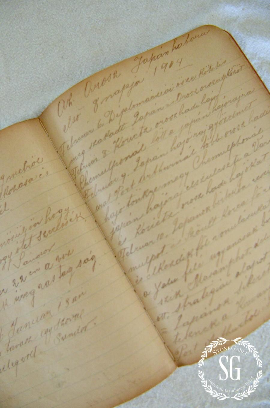 DISPLAYING FAMILY TREASURES- great grandfather's writings-stonegableblog.com