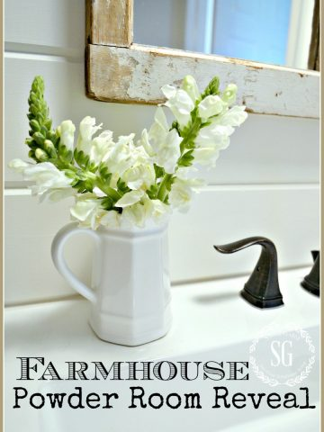 FARMHOUSE POWDER ROOM REVEAL- A simple white farmhouse bathroom-stonegableblog.com