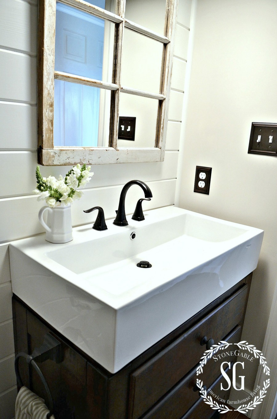 FARMHOUSE POWDER ROOM REVEAL-farmhouse sink and fixtures-stonegableblog.com