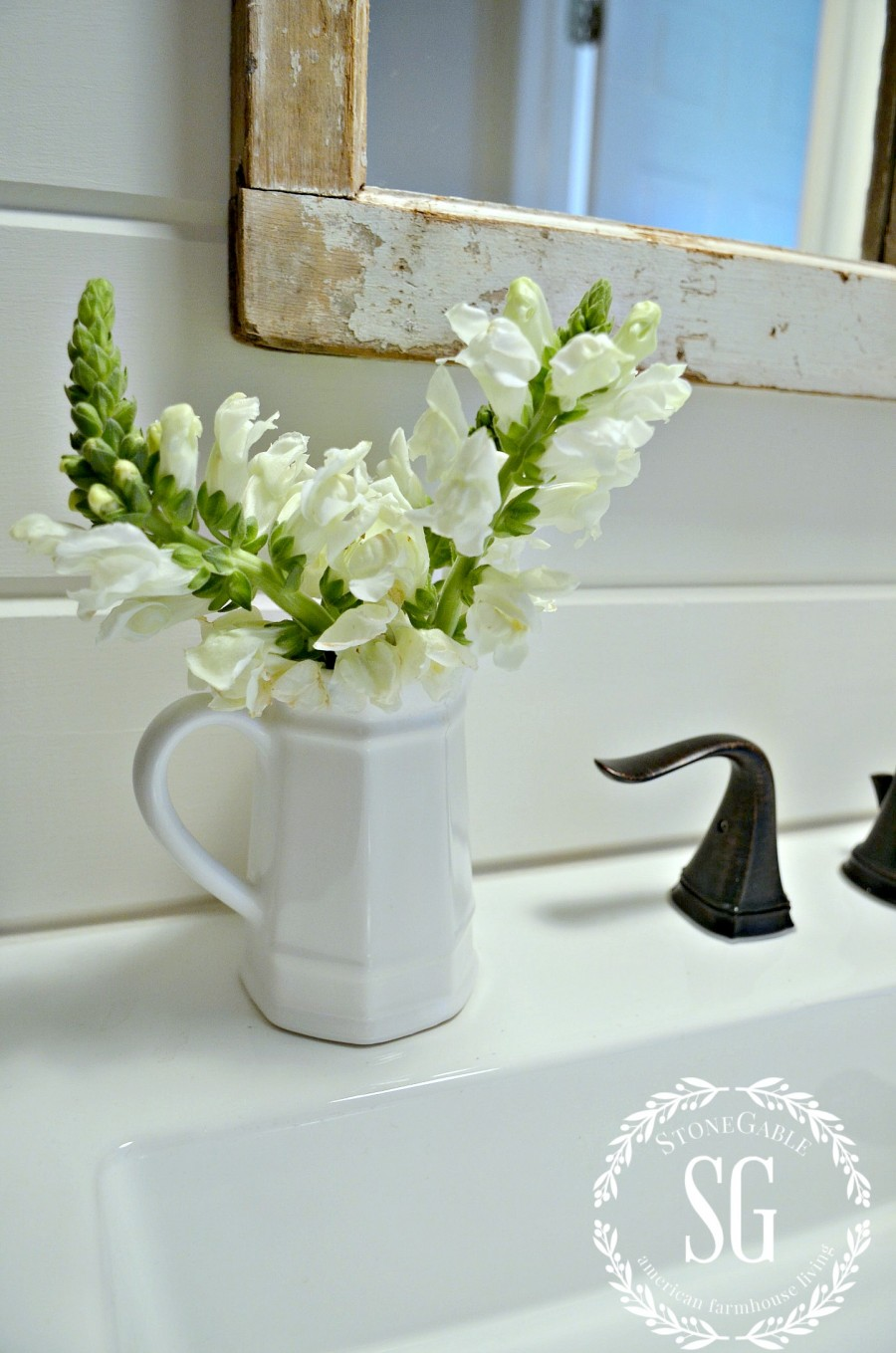 FARMHOUSE POWDER ROOM REVEAL- flowers on sink-stonegableblog.com