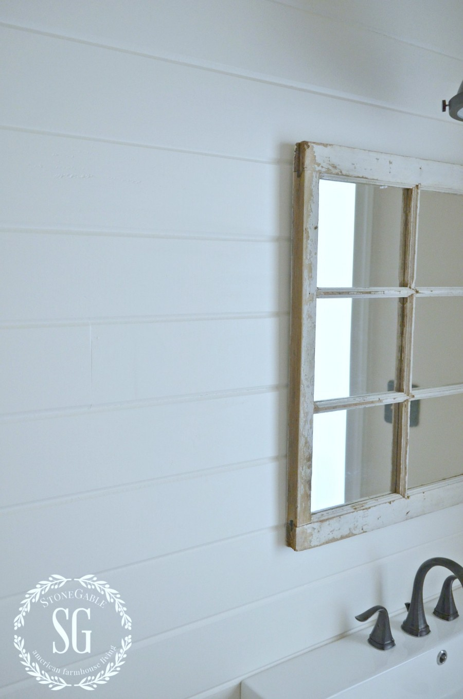 FARMHOUSE POWDER ROOM REVEAL-horizontal planked wall-stonegableblog.com