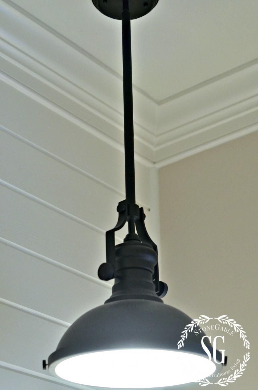 FARMHOUSE POWDER ROOM REVEAL-industrial lamp-stonegableblog.com