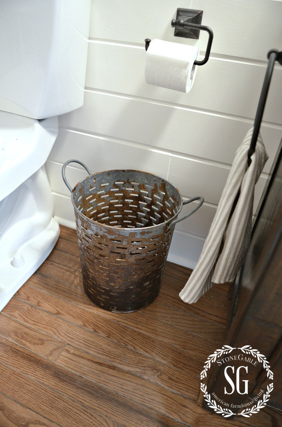 FARMHOUSE POWDER ROOM REVEAL-olive bucket trash can-stonegableblog.com