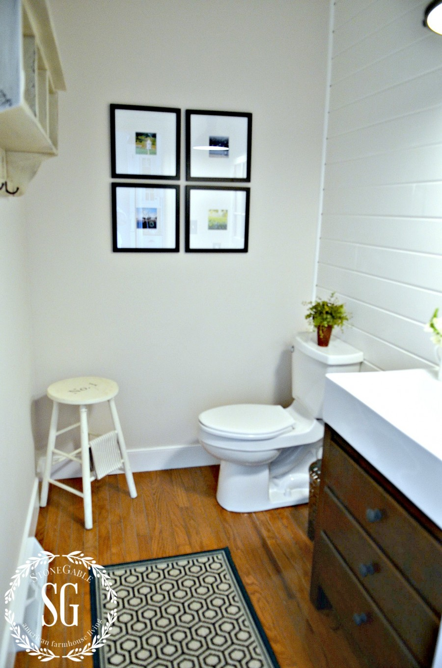 FARMHOUSE POWDER ROOM REVEAL- view from outside the door- whole room-stonegableblog.com