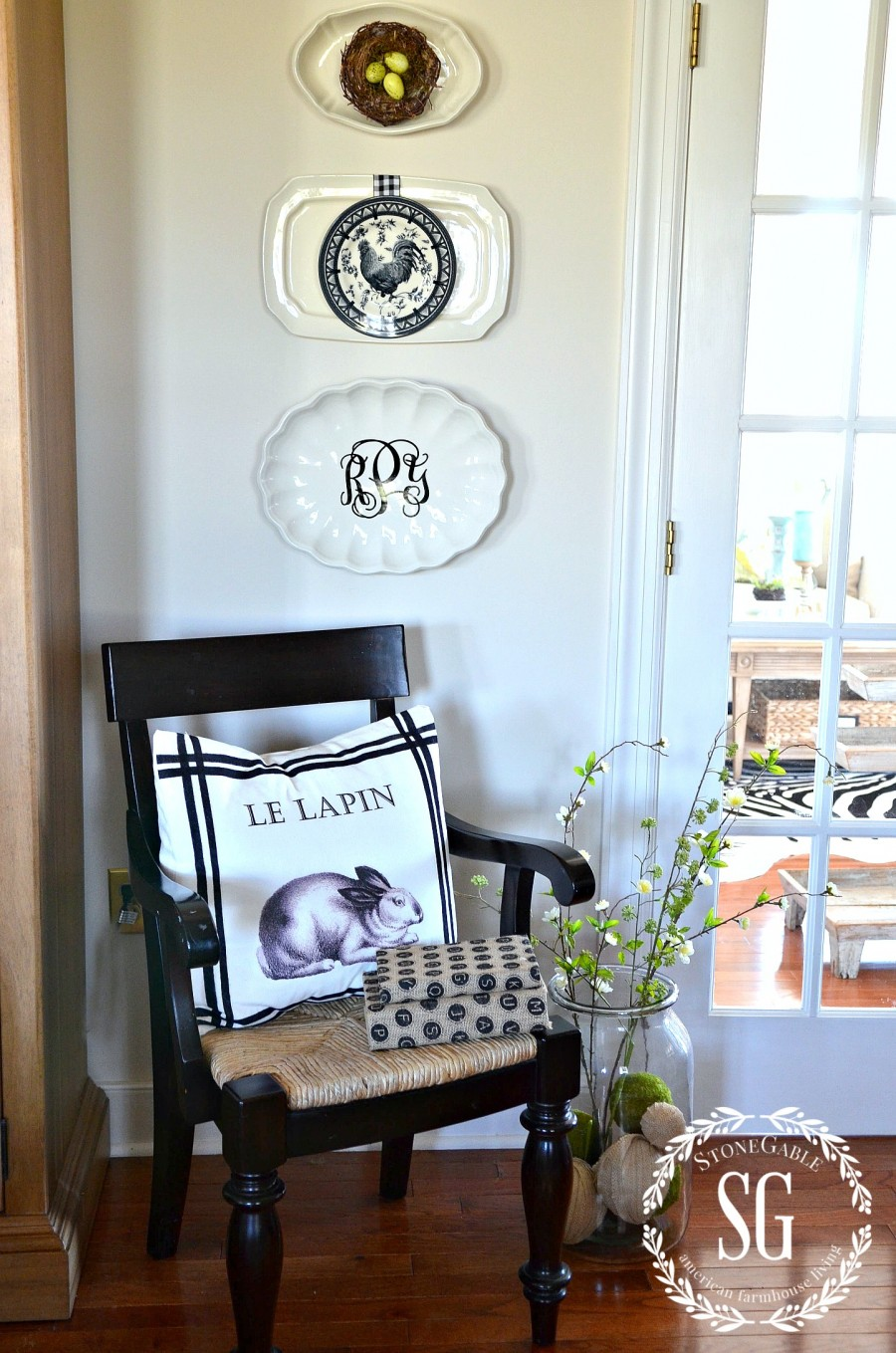 HOW TO LAYER DISH ART-wall art-embellished-stonegableblogcom