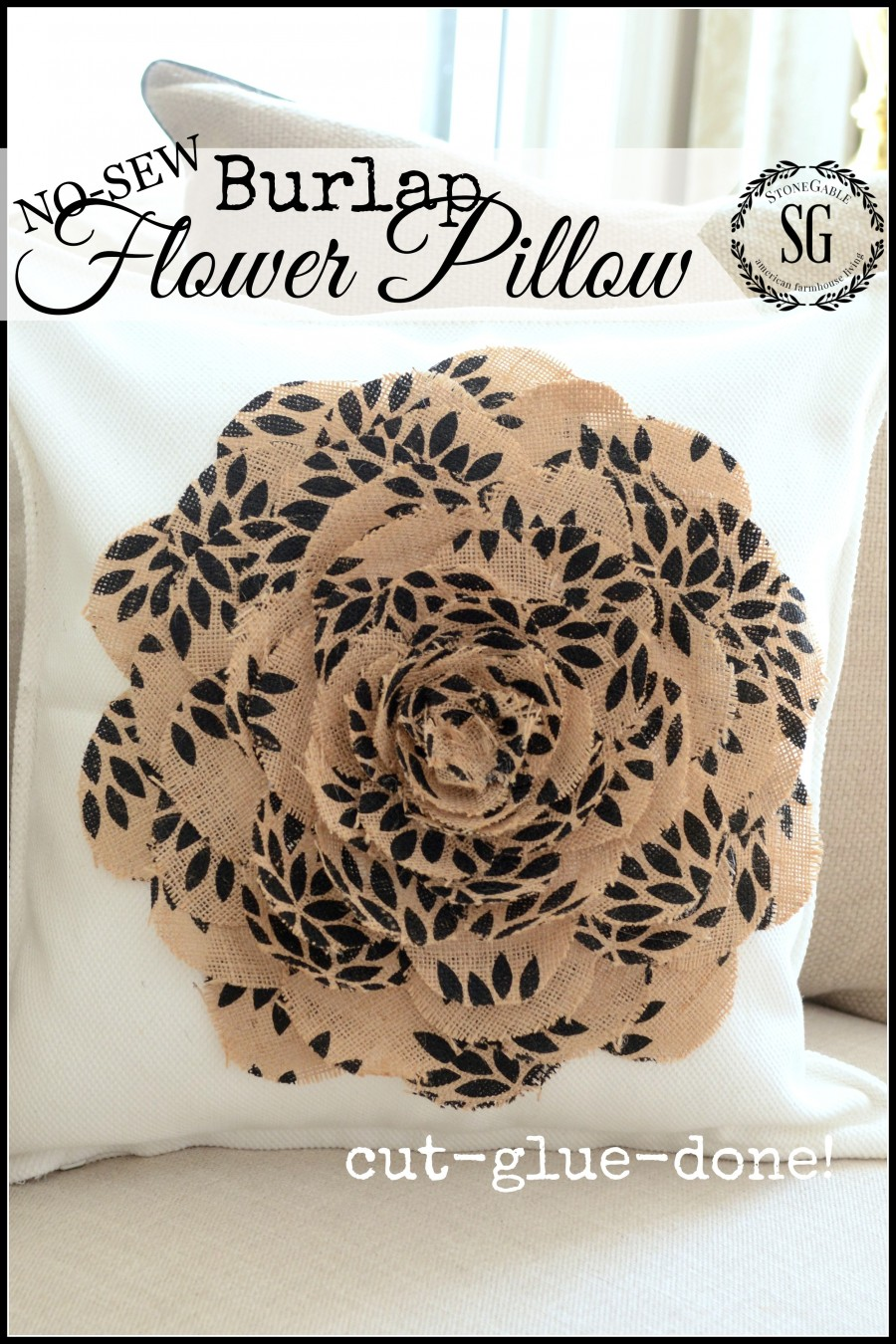 NO-SEW-BURLAP-FLOWER-PILLOW-so-easy-to-make-cut-glue-done-stonegableblog.com_