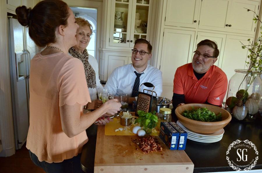 PASTA CARBONARA- Abby, Mom, Chis and Bobby making dinner-stonegableblog.com
