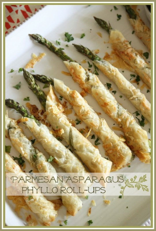 Parmesan Asparagus Phyllo Roll-Ups Title Page - BLOG