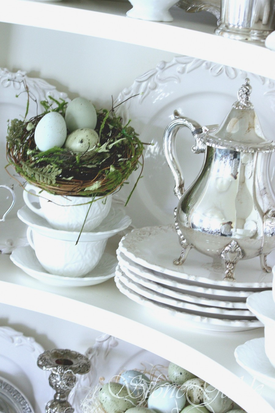 SPRING FARMHOUSE MUST HAVES-white dishes and silver-stonegableblog.com