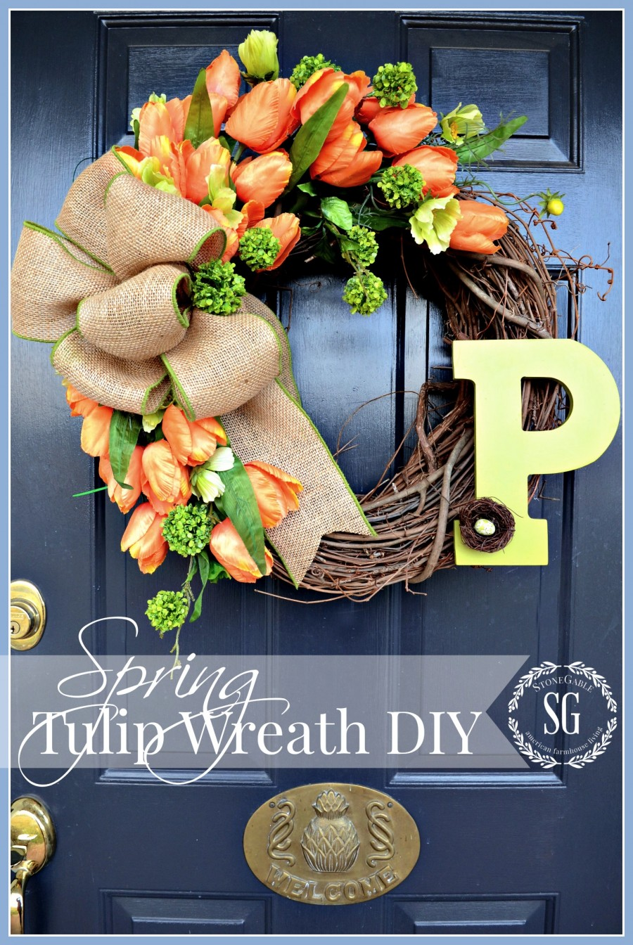 SPRING TULIP WREATH DIY-Dress your door this year with a WOW factor wreath-stonegableblog.com