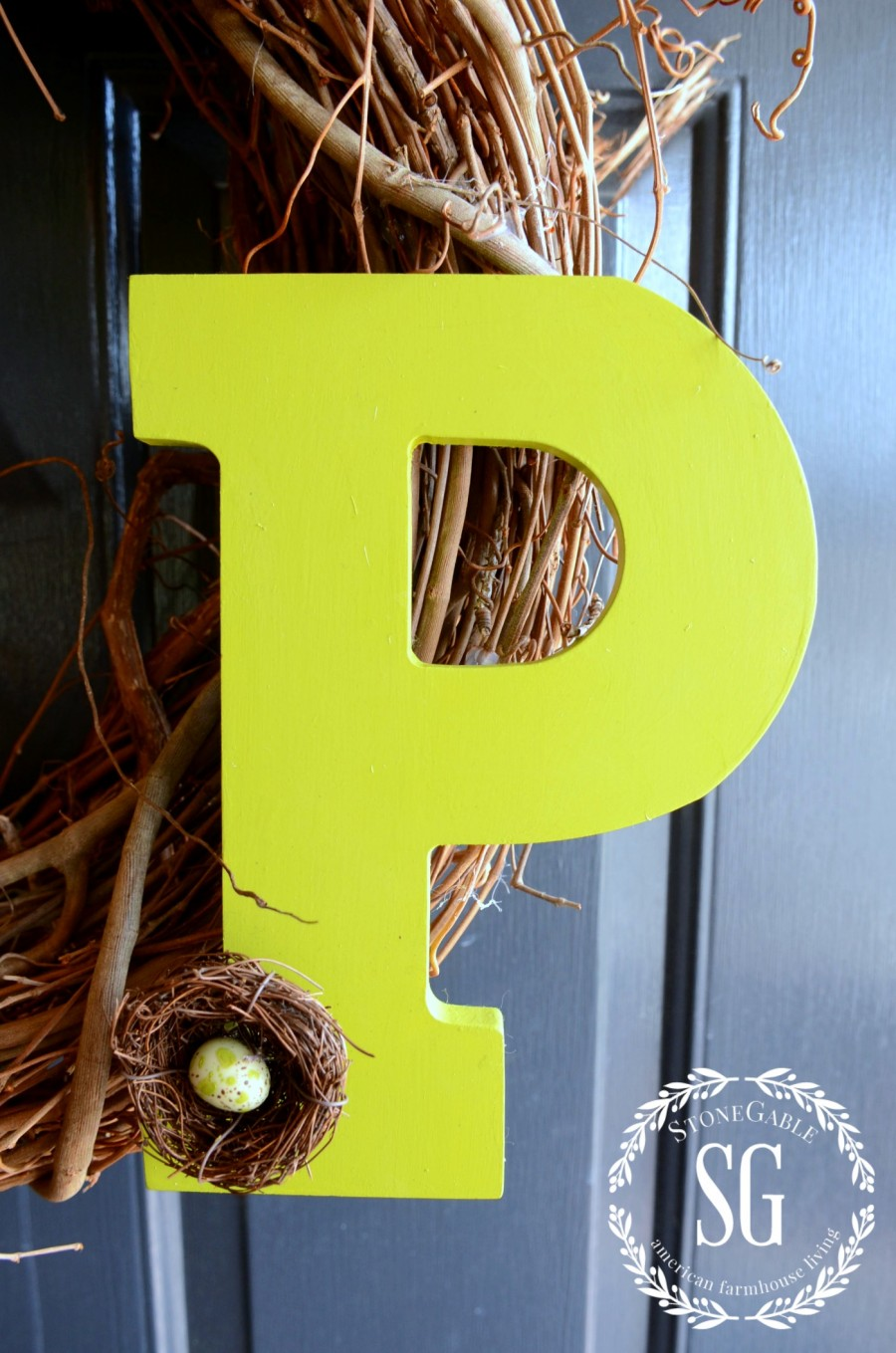 SPRING TULIP WREATH DIY-one letter monogram-spring wreath-stonegableblog.com