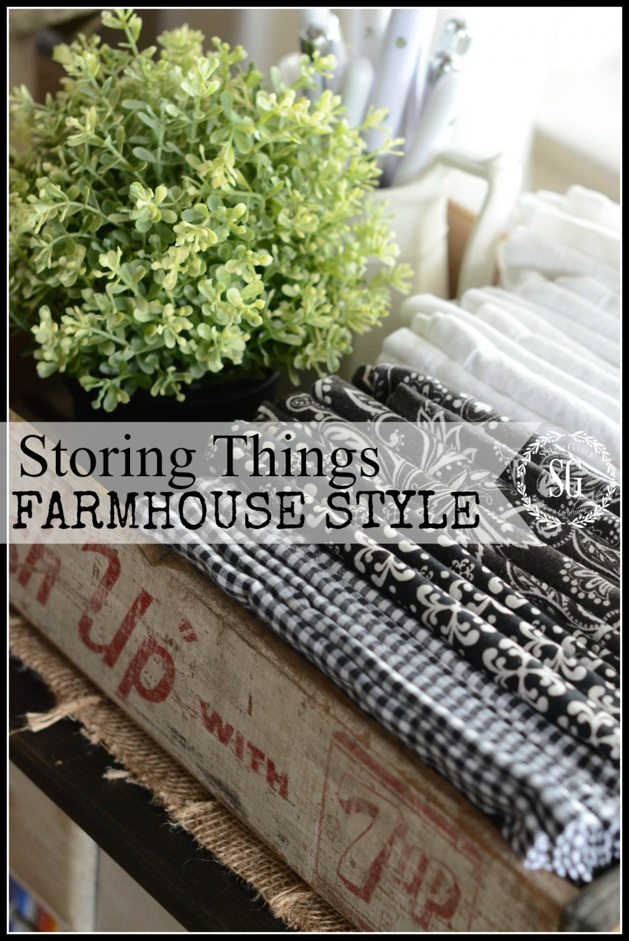 STORING THINGS FARMHOUSE STYLE- Store things you need in crates-easy access-stonegableblog.com