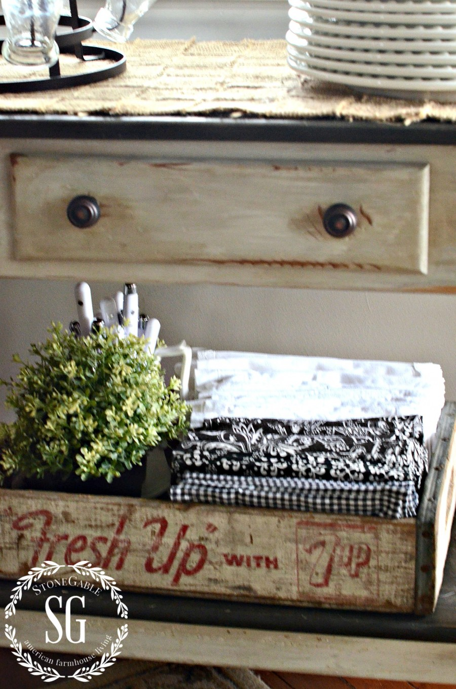 STORING THINGS FARMHOUSE STYLE-crate of napkins-under side table-stonegableblog.com