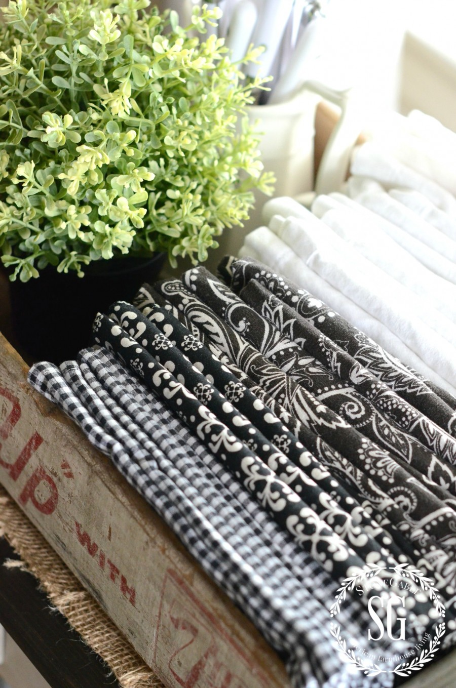 STORING THINGS FARMHOUSE STYLE-napkins in a crate-flatware-stonegableblog.com