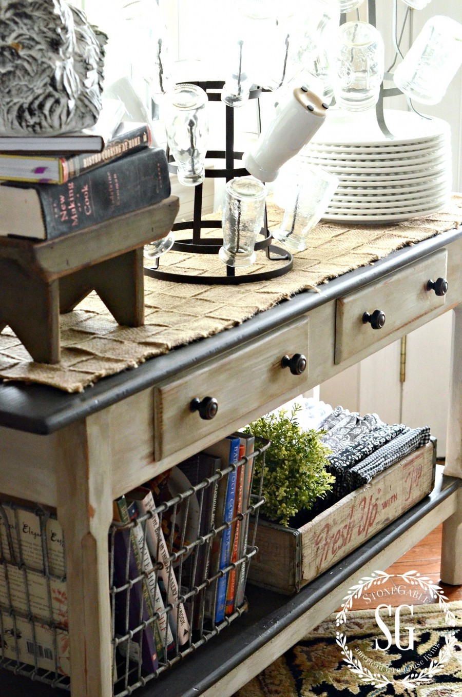 STORING THINGS FARMHOUSE STYLE-under side table-in breakfast area-stonegableblog.com