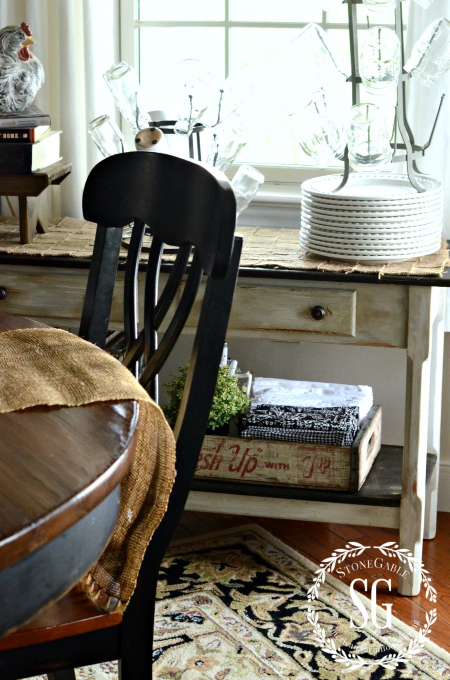 STORING THINGS FARMHOUSE STYLE-under side table-stonegableblog.com