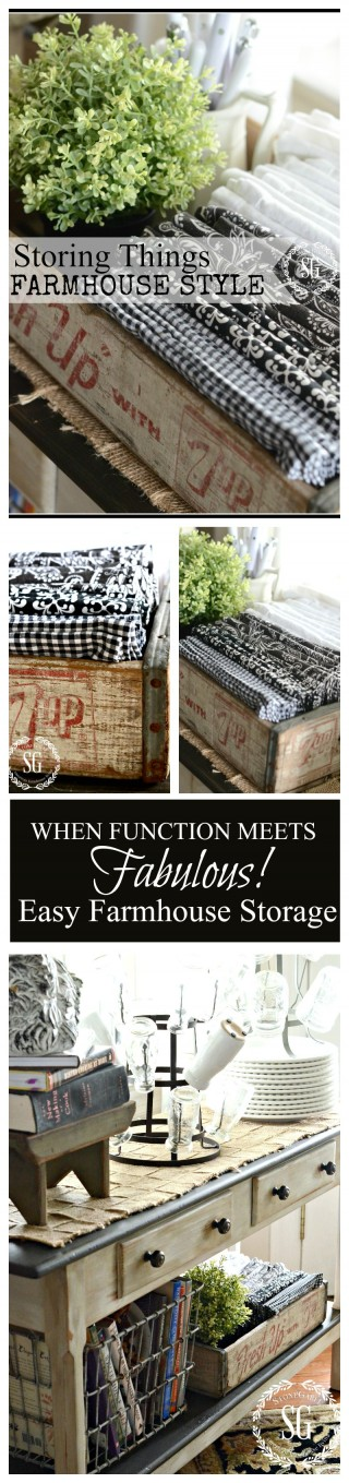 WHEN FUNCTION MEETS FABULOUS! Easy ways to store things FARMHOUSE STYLE-stonegableblog.com