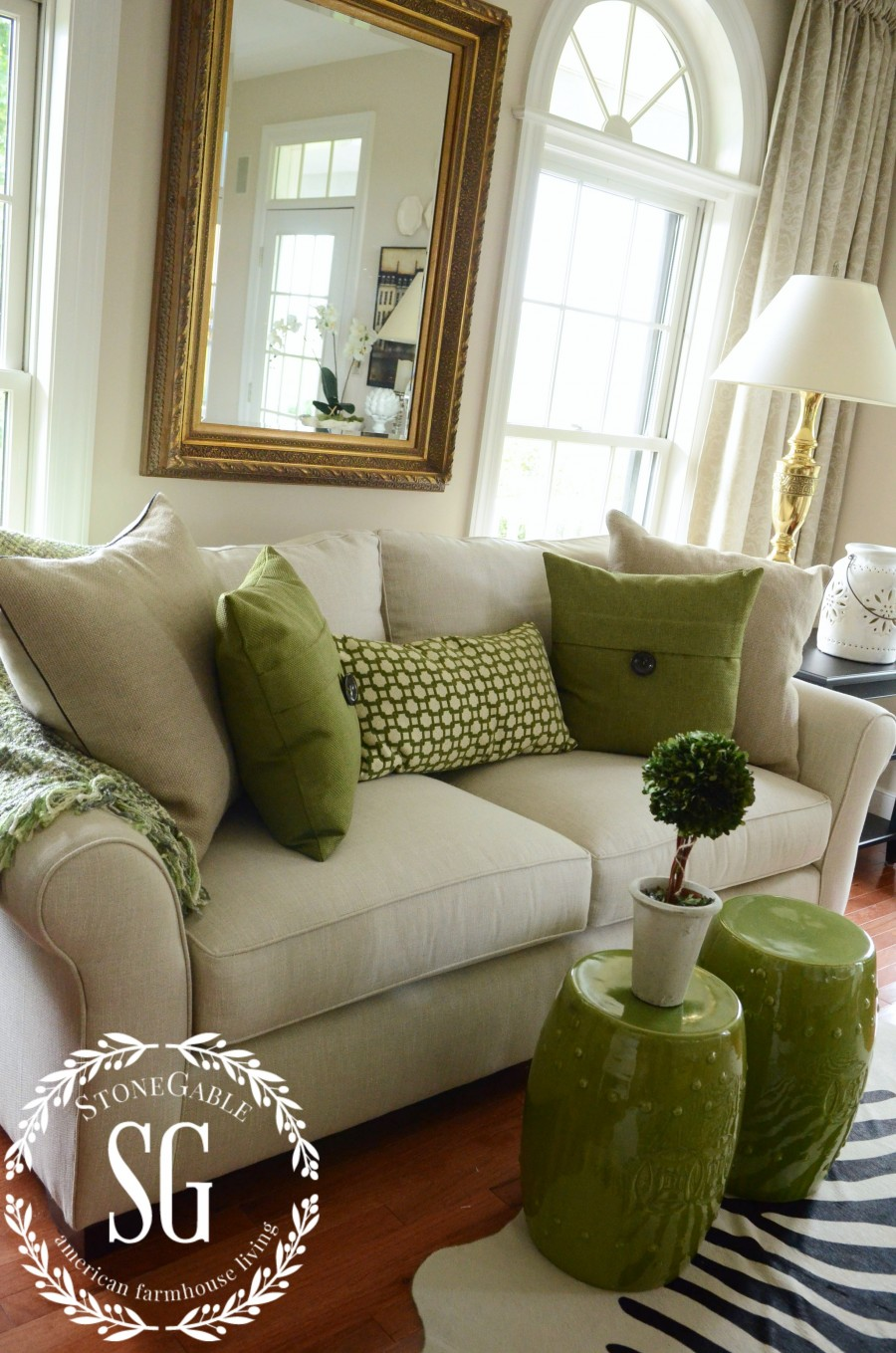 sofa pillows- green accents-stonegableblog.com