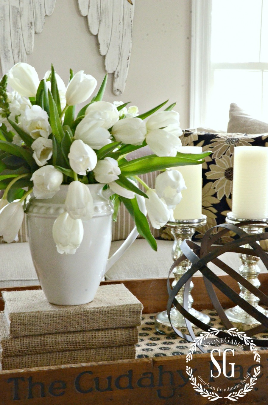 5 GREAT USES FOR PITCHERS... FARMHOUSE STYLE-pither with white tulips-stonegableblog.com