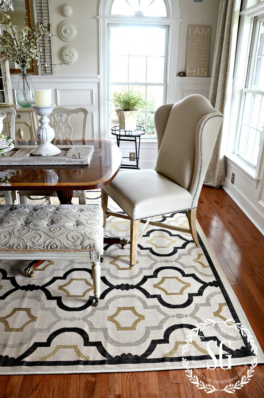 5 RULES FOR CHOOSING THE PERFECT DINING ROOM RUG-design and color-stonegableblog.com