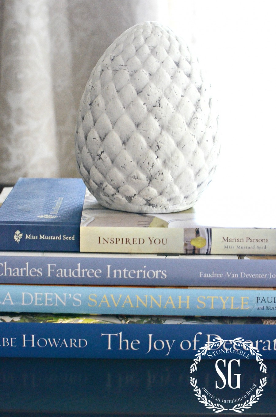 DECORATING WITH BOOKS-budget friendly ideas-books add color-stonegableblog.com