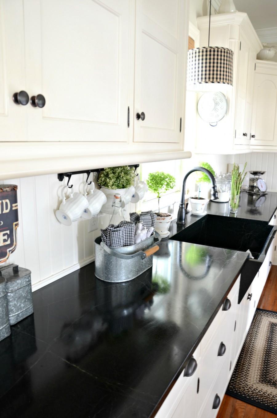 FARMHOUSE KITCHEN -farmhouse sink-soapstone counters-stonegableblog.com