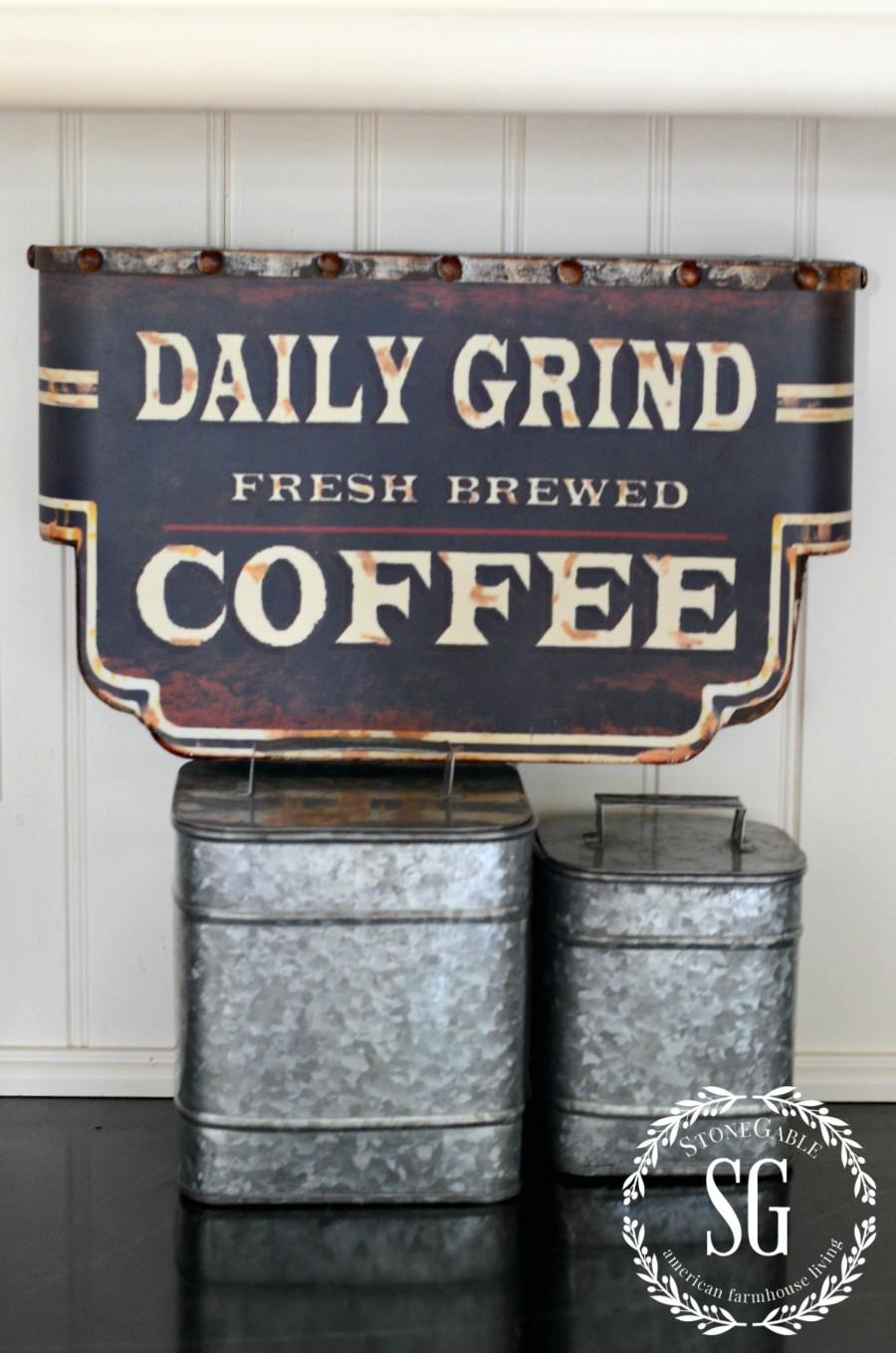 FARMHOUSE KITCHEN -galvanized coffee tins-stonegableblog.com