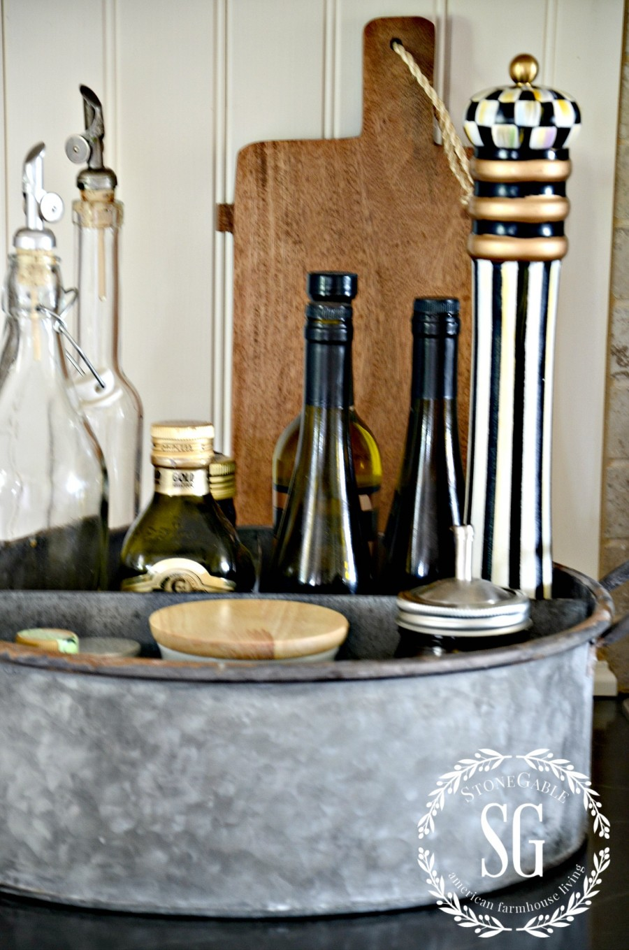 FARMHOUSE KITCHEN -galvanized containter-oil in bottles-stonegableblog.com