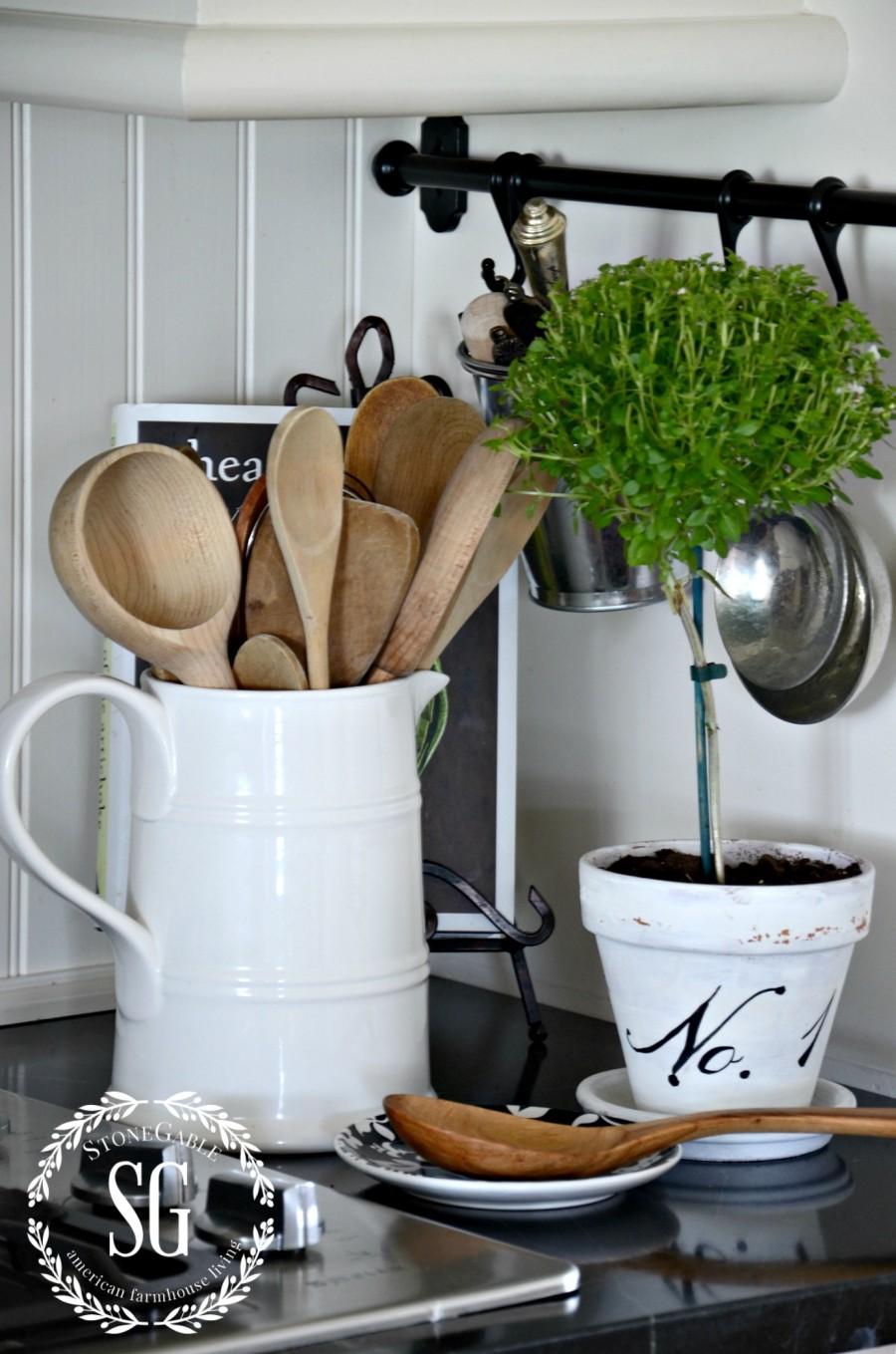 FARMHOUSE KITCHEN -spoons in white pitcher-stonegableblog.com