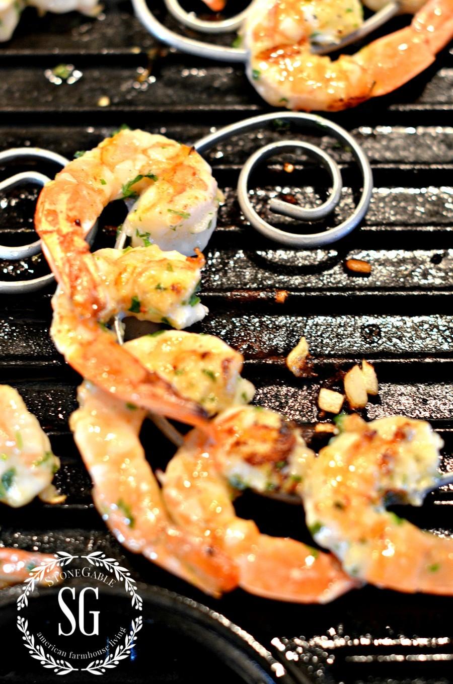 HERB GRILLED SHRIMP-shrimp on skewers-stonegableblog.com