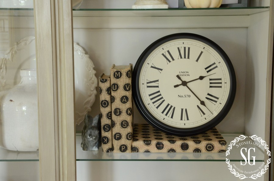 Hutch-Living Room-Styled- clock-stonegableblog.com
