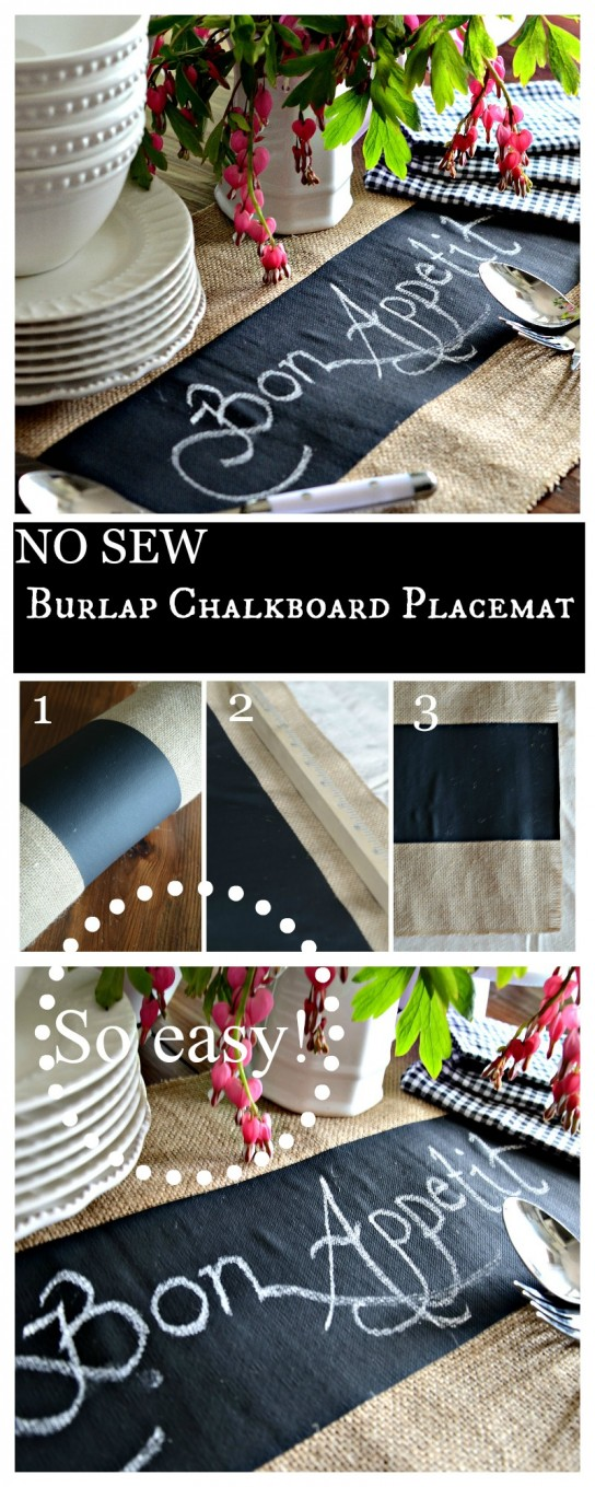 NO SEW BURLAP CHALKBOARD PLACEMAT- Measure, cut and use! That easy!-stonegableblog.com
