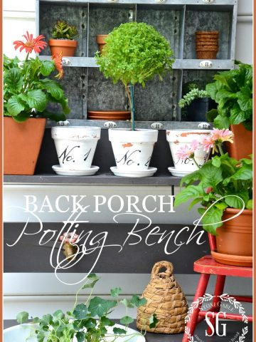 SUMMER POTTING BENCH-Small potting bench near the back porch-stonegableblog.com