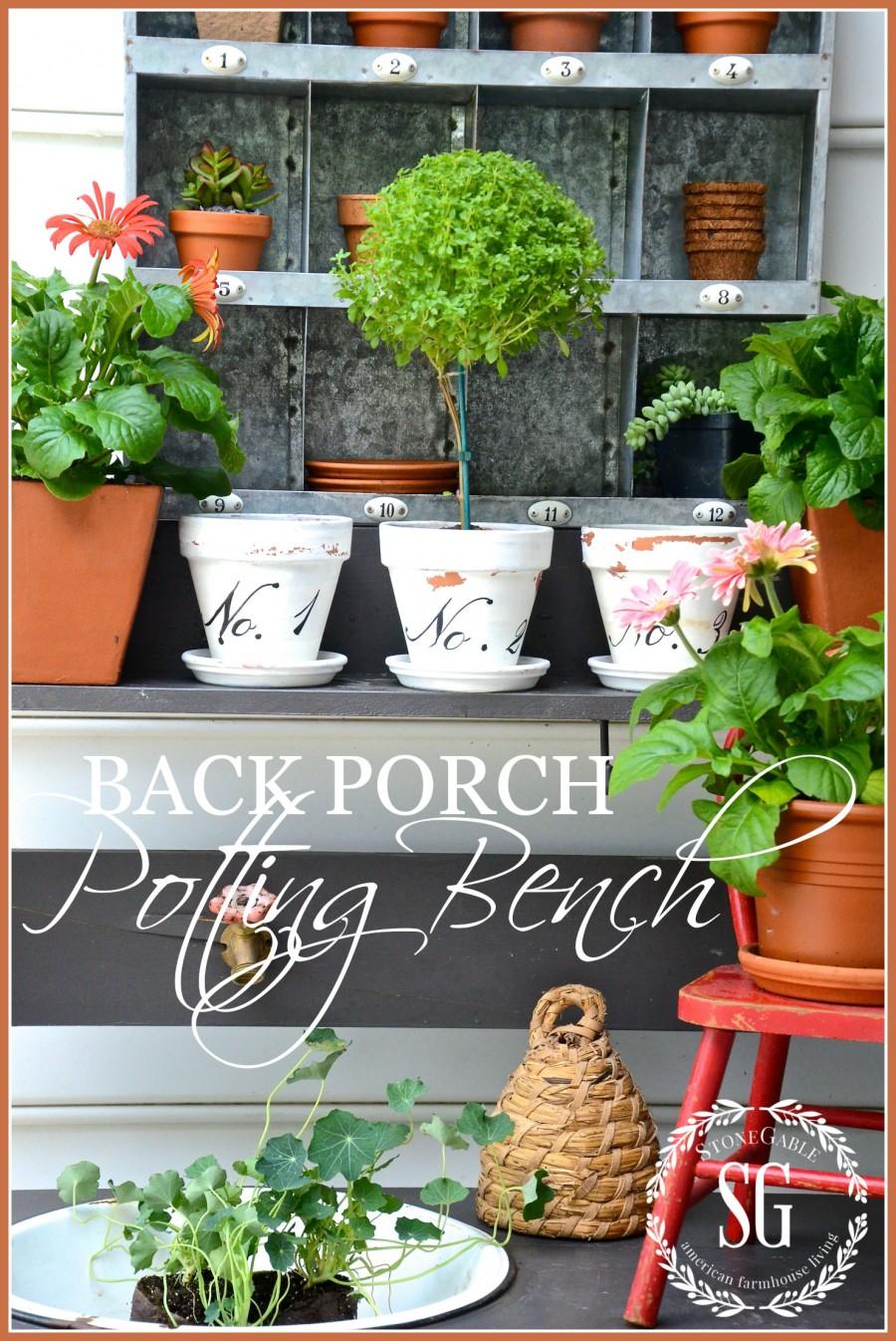 SUMMER POTTING BENCH-Small potting bench near the back porch-stonegableblog.com