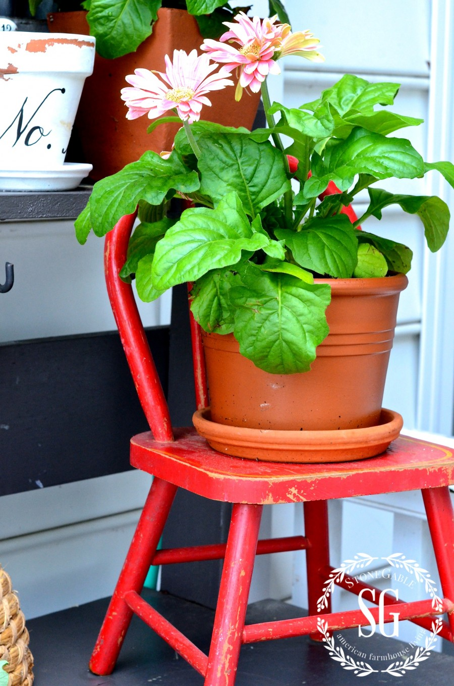 SUMMER POTTING BENCH-gerbera daisies on a vintage child's chair-stonegableblog.com