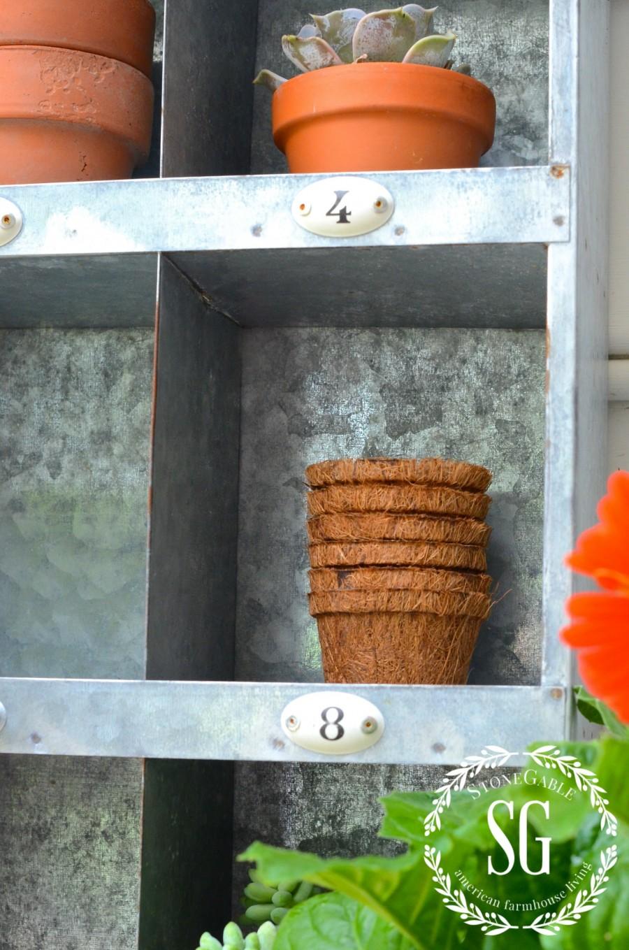 SUMMER POTTING BENCH-little pots and succulents in cubbies-stonegableblog.com
