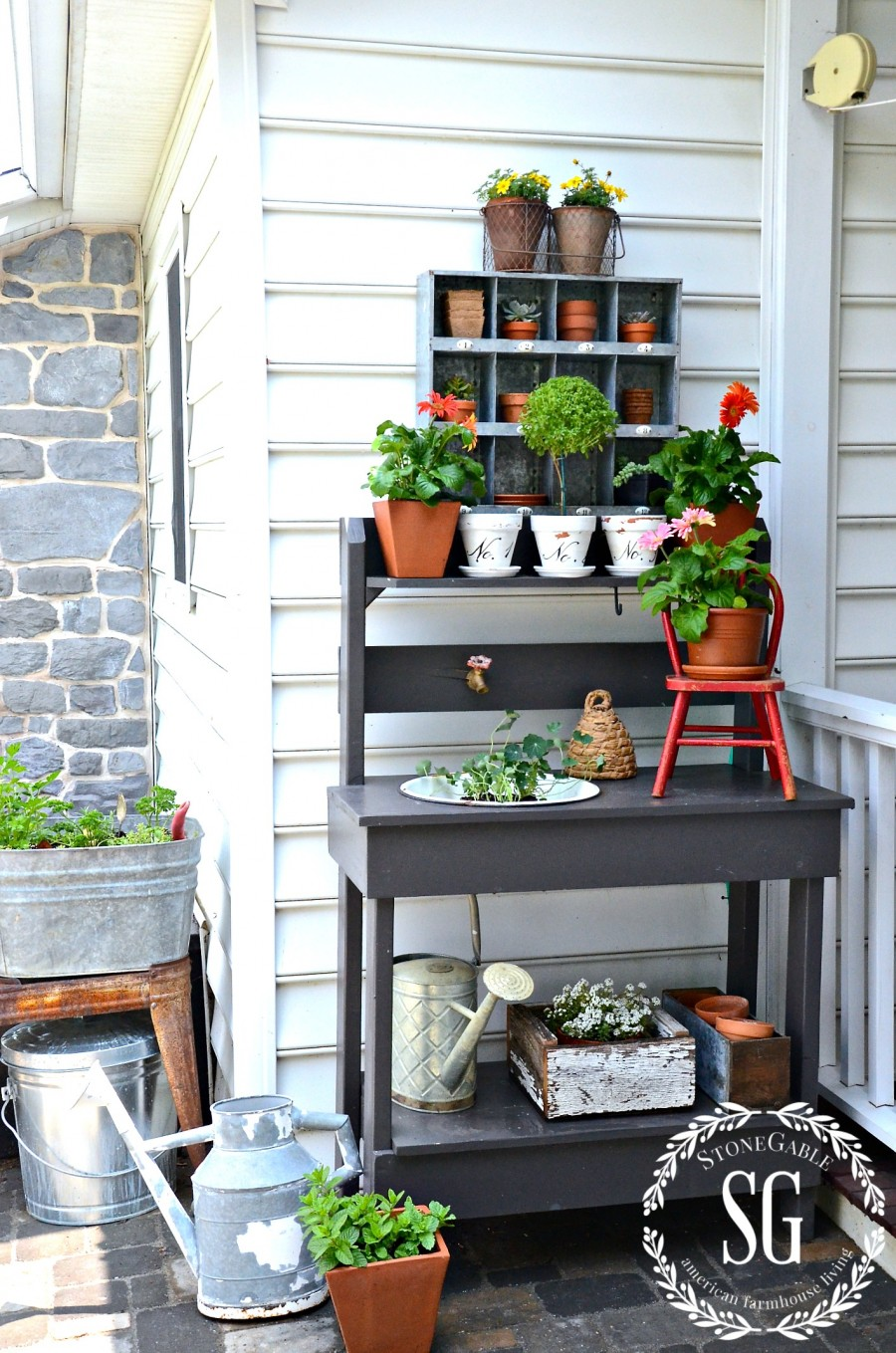 SUMMER POTTING BENCH-potting bench near the back porch-stonegableblog.com