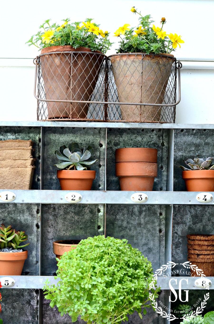 SUMMER POTTING BENCH-succulents-pots-stonegableblog.com