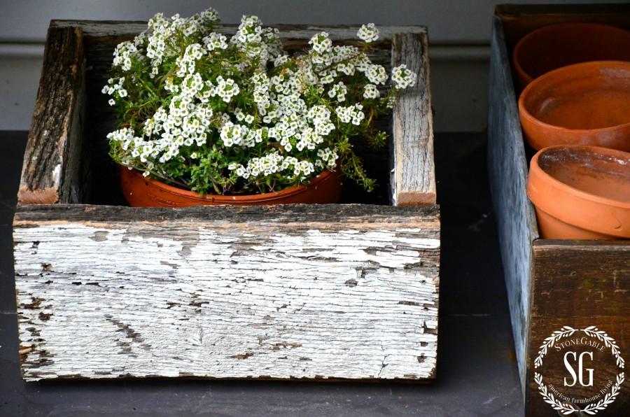 SUMMER POTTING BENCH-white chippy box of allysums-stonegableblog.com